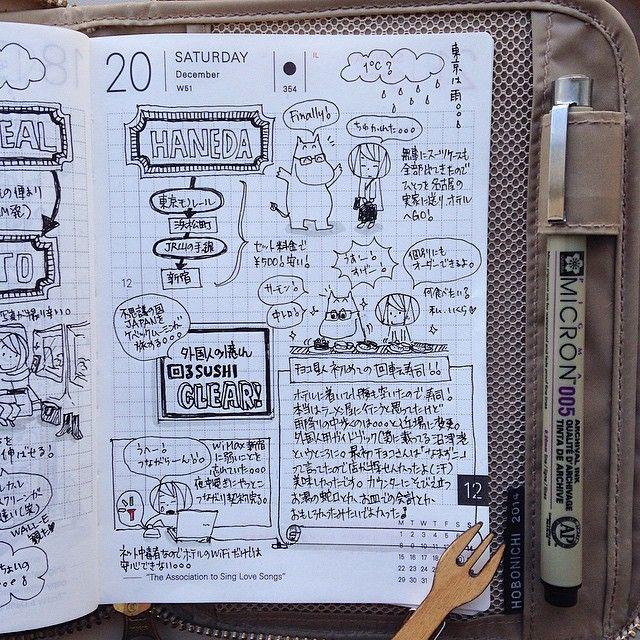 """2014-12-20 自分にようこそJAPANへの日。私たちも荷物も無事に到着。チョコ星人は、初の回るお寿司に挑戦ヾ(・゚∀゚*)ノ"""" クリスマスまでお江戸ツアー満喫します。 #hobonichi #ほぼ日手帳 #絵日記倶楽部 #ほぼ日 #手帳 #絵日記 #日記 #手帳ゆる友 #Japan"""