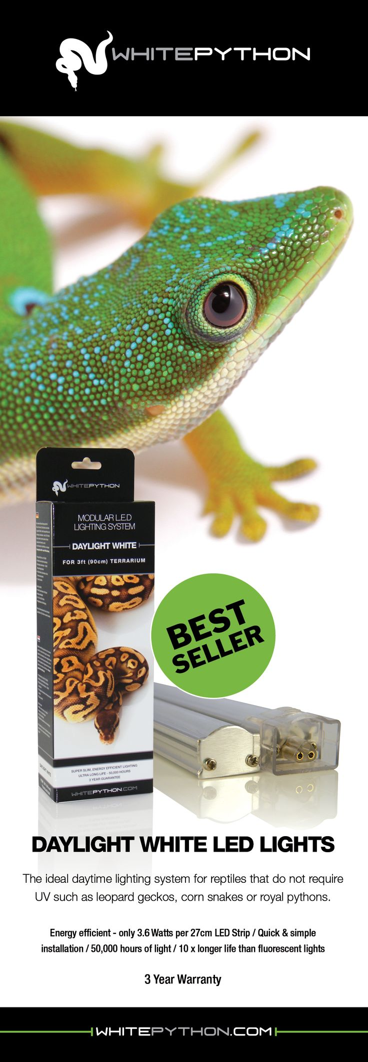 WhitePython Daylight White LED Lights for Reptiles.