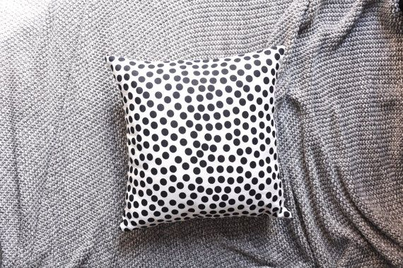 Black & White Polka Dot Envelope Cushion Cover by trimandthread