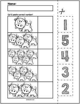 Cow Count & Match Worksheets | Numbers 1-5