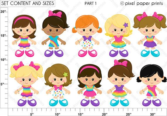 Rainbow girls Clipart and Digital Paper Set от pixelpaperprints