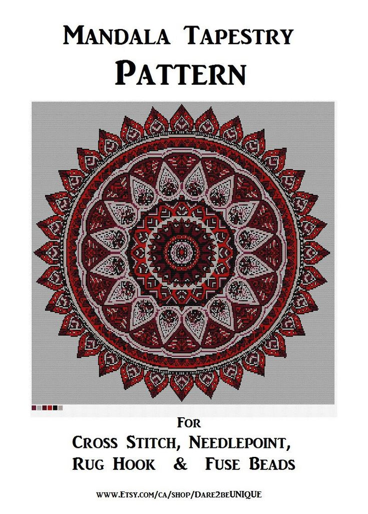 BIG Red Mandala Tapestry PATTERN, Cross Stitch, Needlepoint Embroidery Rug Hook Designs, Perler Patterns, Hama Crafts, Yoga Art Download PDF by Dare2beUNIQUE on Etsy