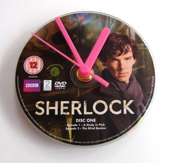 Sherlock DVD CLOCK. Made from a recycled movie dvd. by Abbazappa