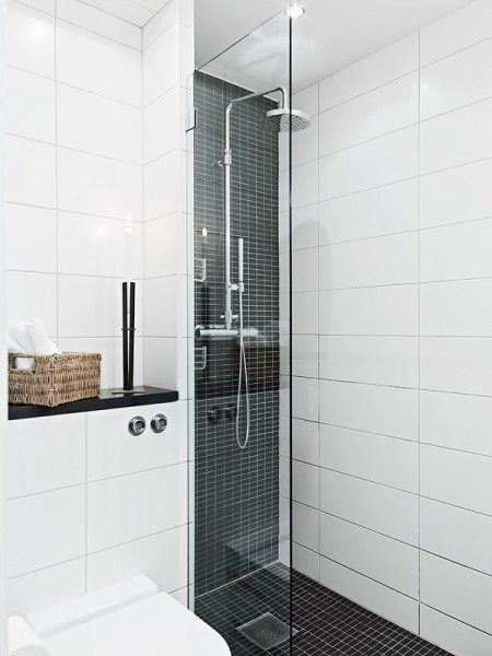 highlight tile for shower recess. way to introduce black
