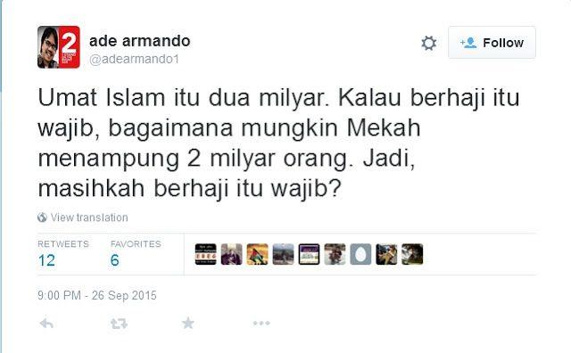 Ajukan Pertanyaan Seputar Haji Ade Armando Dikecam Netizen