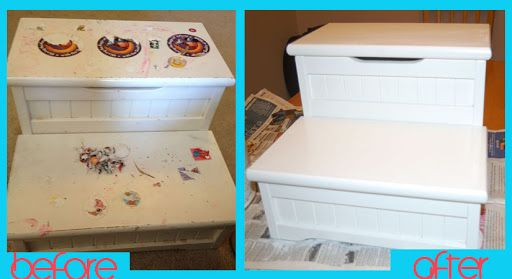 Get stickers off of furnitre! Check out this DIY project bought at a garage sale and redone.
