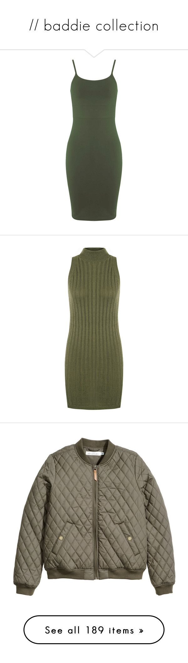 """// baddie collection"" by karatyl ❤ liked on Polyvore featuring dresses, clearance, khaki, strappy dress, khaki dress, miss selfridge, bodycon dress, green body con dress, green and sleeveless bodycon dress"