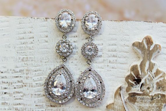 Art  Deco Bridal Earrings, Crystal Teardrop Earrings,Bridal Stud  Earrings, Drop Crystal  Earrings, Jewelry ,Wedding Jewellery Silver