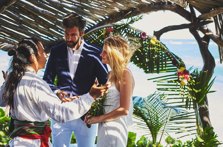 Wedding in Tulum. An intimate and charming ceremony at Azulik Hotel & Spa. Joanna & Denis were married in Tulum, Mexico.