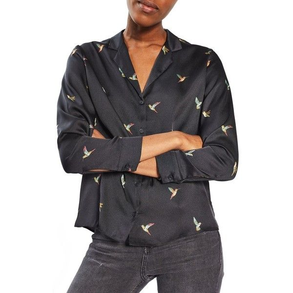 Petite Women's Topshop Hummingbird Pajama Shirt ($60) ❤ liked on Polyvore featuring intimates, sleepwear, pajamas, navy blue, petite, petite pyjamas, petite sleepwear, petite pajamas and topshop pyjamas