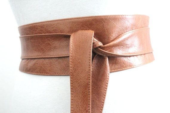 Leather Obi Distressed Tan Brown Belt  Waist or Hip by LoveYaaYaa