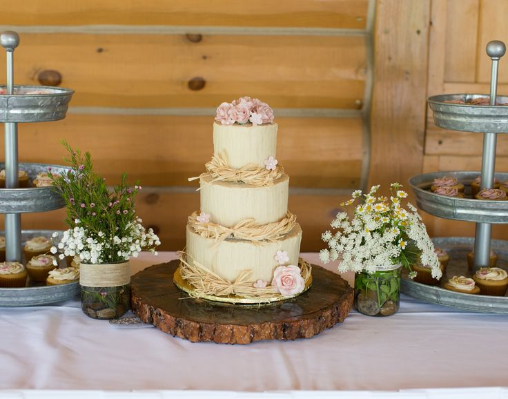 Rustic Three Tier Wedding Cake With Rose Detail