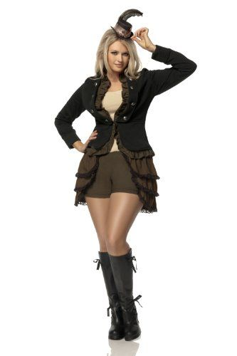 awesome Mystery House Costumes Plus-Size Steampunk Lady Deluxe, Brown/Black/Ivory, 2X