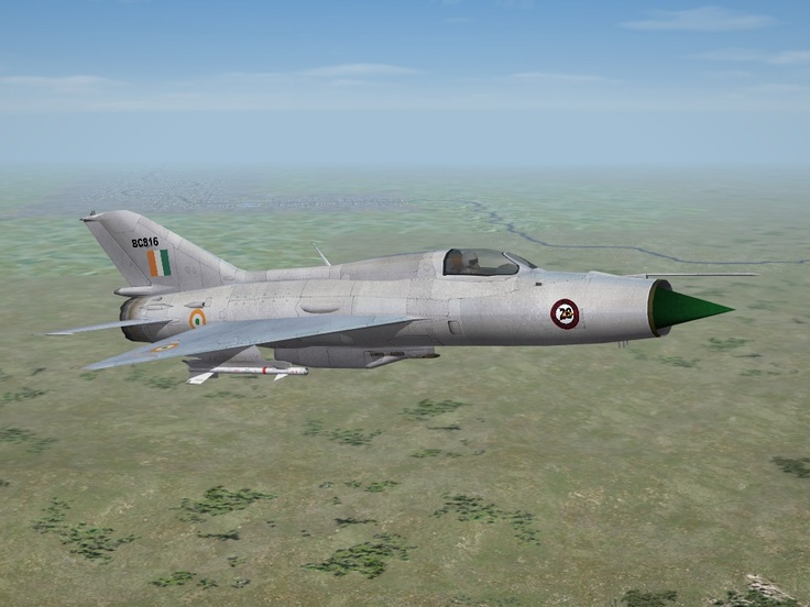 """MiG-21L    Type 74, a variant of the 21FL, as first used by the Indian Air Force. This was their first supersonic aircraft (and their first Fishbed), and bears the marking of No. 28 Squadron, """"First Supersonics"""""""