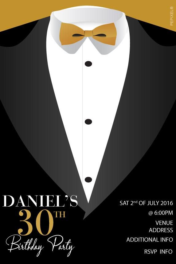 30th Birthday Party Invitations Tuxedo Invitation