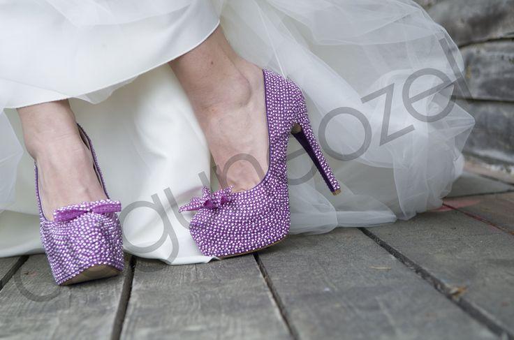 Mor Taşlı Gelin Ayakkabısı