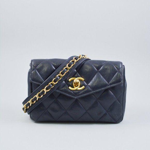 Chanel Vintage Quilted Cc Chain Waist Belt Bag Chanel Vintage Navy Lambskin Quilted Cc Chain Waist Belt Bag Removable Waist Bel In 2020 Vintage Chanel Belt Bag Chanel