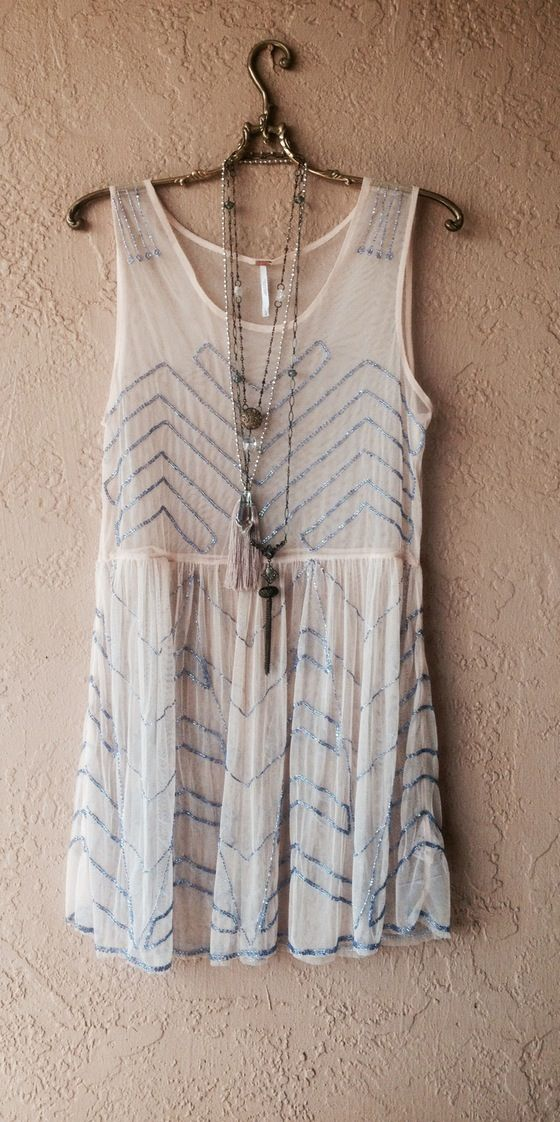 Image of Free People SALE!!!  Magical Beaded sheer romantic sparkle holiday dress