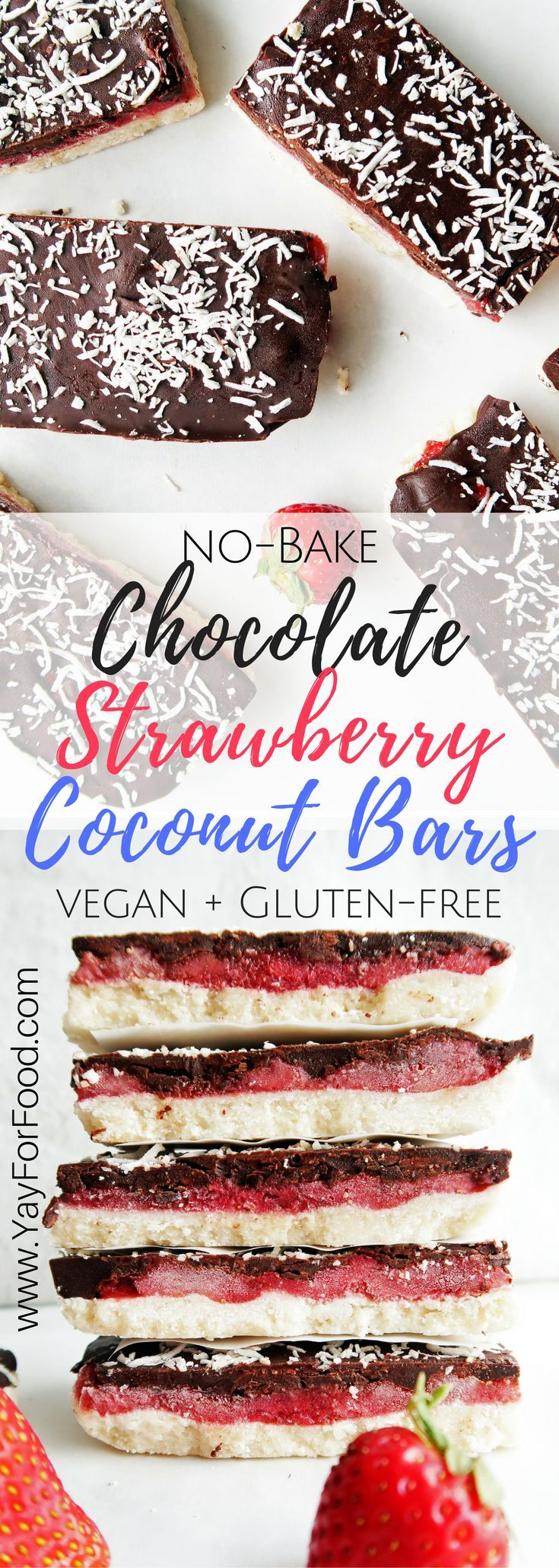 This delicious triple-layered chocolate strawberry coconut bar is no-bake, only uses 6 ingredients, and is ready in 30 minutes! Vegan | Gluten-Free | Vegetarian | Paleo | Dessert