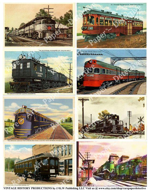 Vintage Railroad Postcards Digital Sheet Antique Post Card