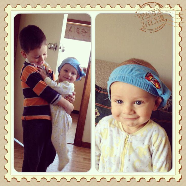 Brotherly love. Underwear on head lol.