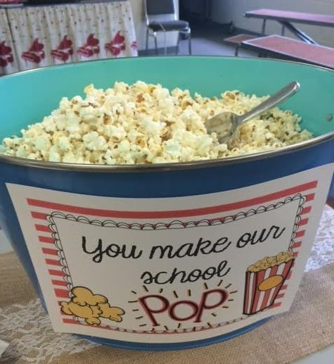 Popcorn bar for first day of school staff