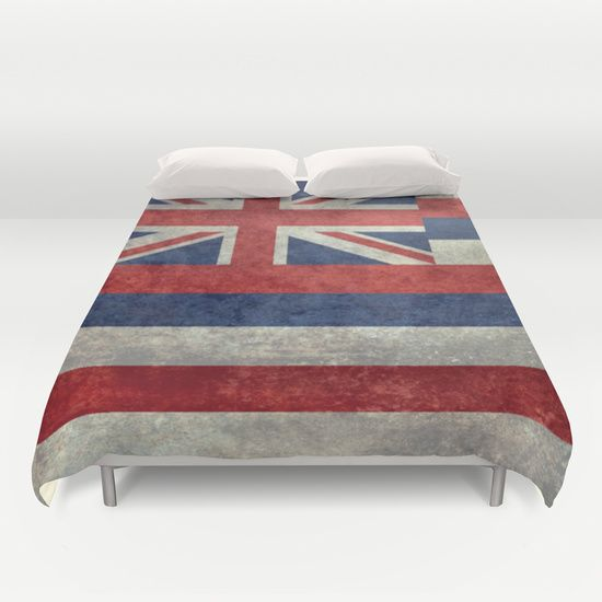 The State flag of Hawaii - Vintage version Duvet Cover #Hawaii #flag #Hawaiianflag #vintage #retro
