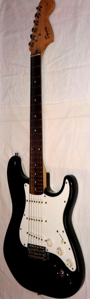 SQUIER Fender Affinity Fat Stratocaster Electric Six String Guitar Black White  #Squier
