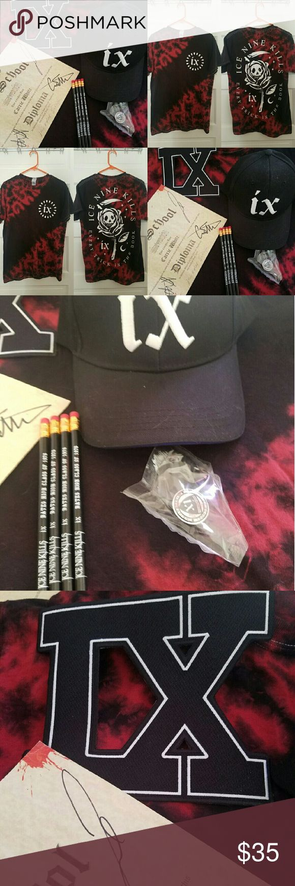 Ice Nine Kills Bundle I've seen them three times this tour VIP so i have tons of extra goodies! The tshirt a roadie gave me for free. It belonged to either one of the guys or another touring band member. Mens size M.  Bundle comes with: 1 Every Trick in the Book tye die shirt, mens M 1 Letterman patch 1 pin 1 baseball hat 4 pencils And a diploma signed by the band! Hot Topic Shirts Tees - Short Sleeve
