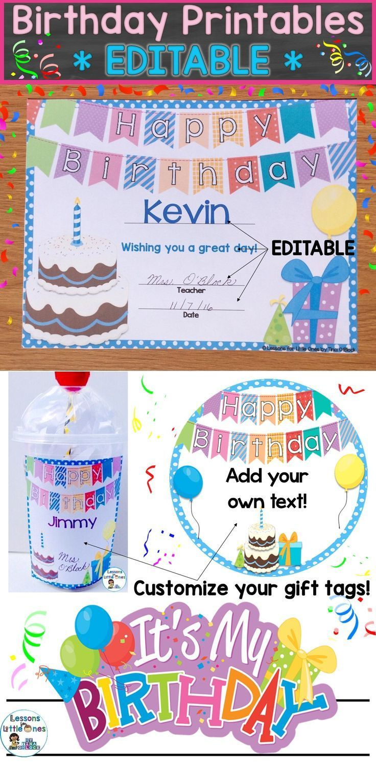 birthday certificates student gift tags brag tags crown editable