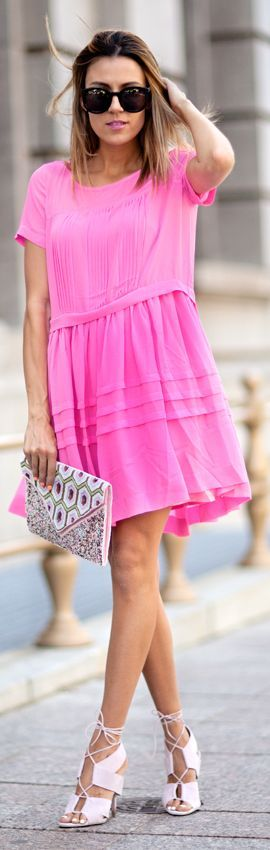 Free People Pink Summer Relaxed Fit Beach Splells Dress by Hello Fashion