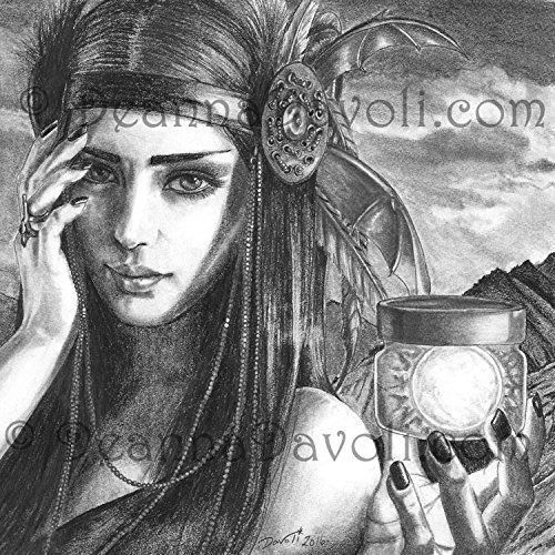 Native American Art Print Goddess Art Print Wall Art 8x10, 11x14 American Indian Artwork Evaki. A striking pencil drawing of the lovely Native American Goddess, Evaki. She is the Bakairi night goddess, aunt of the twin culture heroes Keri and Kame. Evaki has the responsibility of taking the sun out of the jar it is kept in every morning and putting it back away at night. Evaki is associated with sleep and dreams, and she is sometimes represented as a bat. Here is a time lapse video of me...