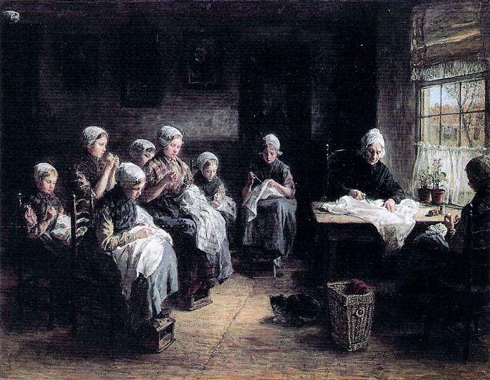 Jozef Israëls, De naaischool te Katwijk, 1881, olieverf op  doek, 110 x 145 cm, Taft Museum of Art, Cincinnati