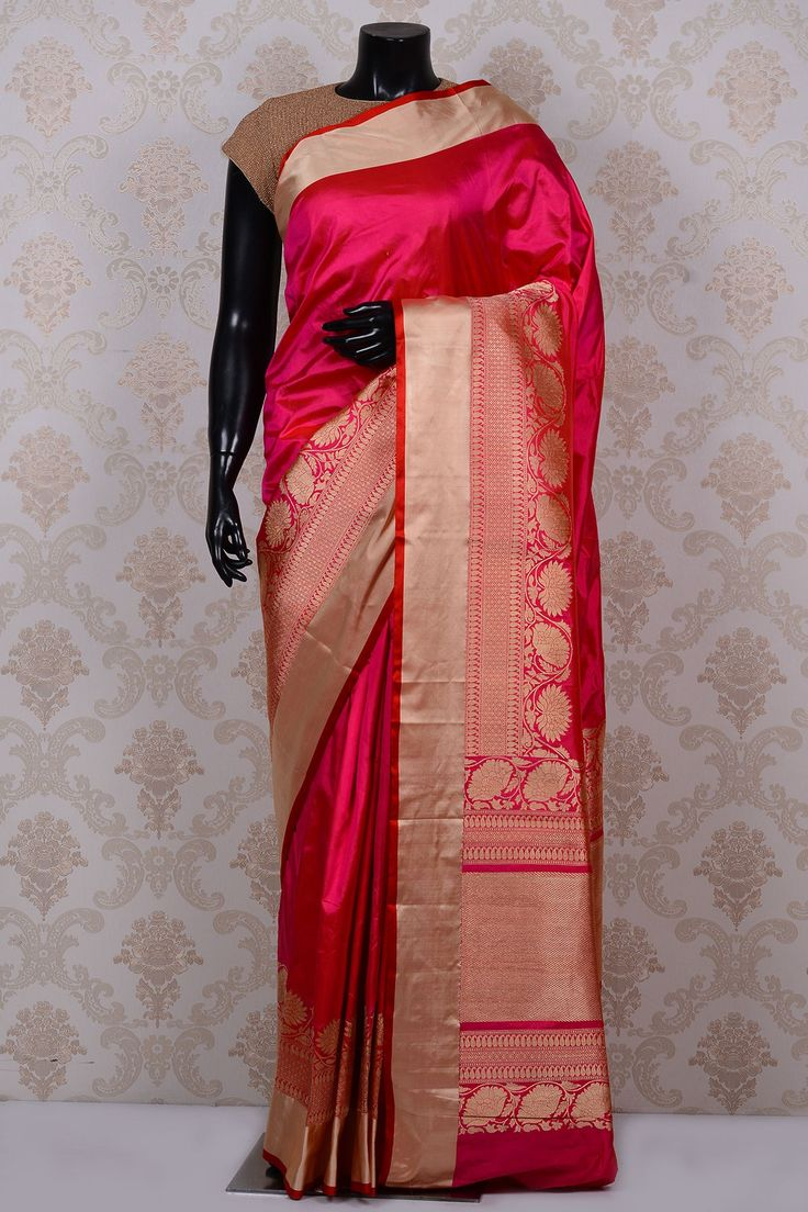Dark pink & orange chic banarasi silk saree with gold & red border-SR17793 - Pure Banarasi - PURE HANDLOOM SILK SAREE - Sarees