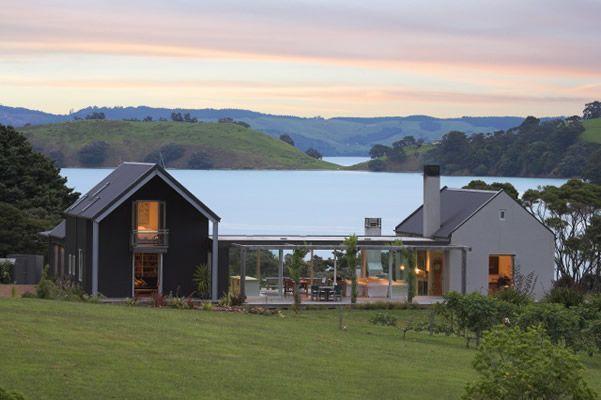 Open plan living, double storey area, modern / shed feel