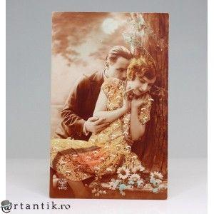 carte postala romantica 1928 - circulata in Romania - editor A.Noyer- Franta