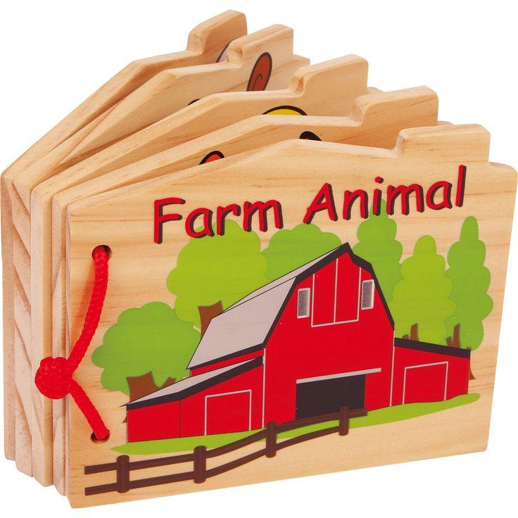 """Cartea """"Animale de fermă"""" din lemn multi-colorată și amuzantă pe care sunt imprimate 8 animăluțe simpatice. Acestea îi vor atrage pe micuții cititori care le vor atinge și le vor studia cu mare interes!"""