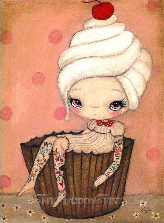 Cupcake Print Tattoo Girl Pink Cake Cherry Wall Art —Tattood Cupcake Girl 5 x 7