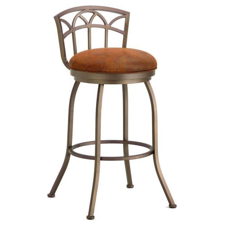 "Iron Mountain 2003326 Fiesole Low Back Counter Stool 26"" Seat Height w/ Mayflower Cocoa Fabric - Inca/Bronze"