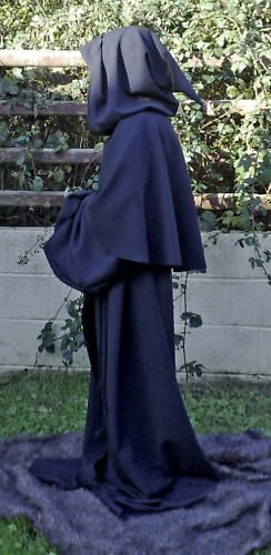 Black Cotton Drill Robe Monk/Pagan/Grim by Merlinmedievalcloset