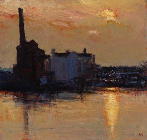 """Chelsea Wharf III""  7.5"" x 8""  Oil on panel  Andrew Gifford"
