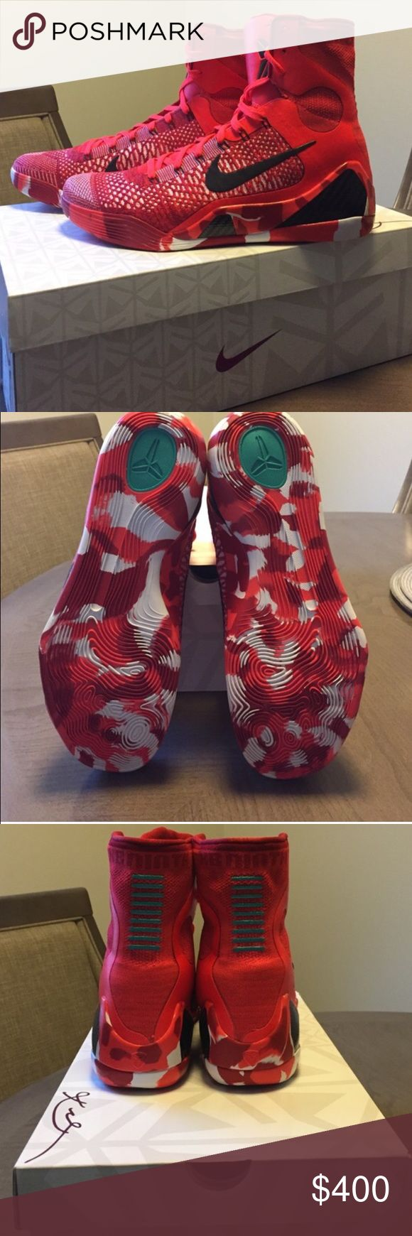 """BNIB Kobe 9 Elite high Christmas Kobe 9 Elite Christmas. Limited!!!!!! Brand new unworn. Please review photos. Comes with original box.  """"Dead stock condition""""      PLEASE READ: Instead of asking """"lowest?"""" Submit a offer. NO LOWBALLING. I don't trade & no offsite transactions. Don't even ask me about PayPal invoices - I don't do those either. Poshmark only. No Holds.  Nike Shoes Sneakers"""