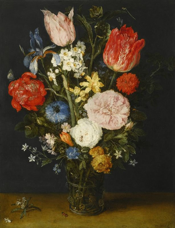 Jan Brueghel the Elder, Still Life with Tulips, Chrysanthemums, Narcissi, Roses, Irises and other Flowers in a Glass Vase, 1608-1610. Oil on copper. Panel dims (H x W): 35 × 25.2 cm © Private Collection, Hong Kong