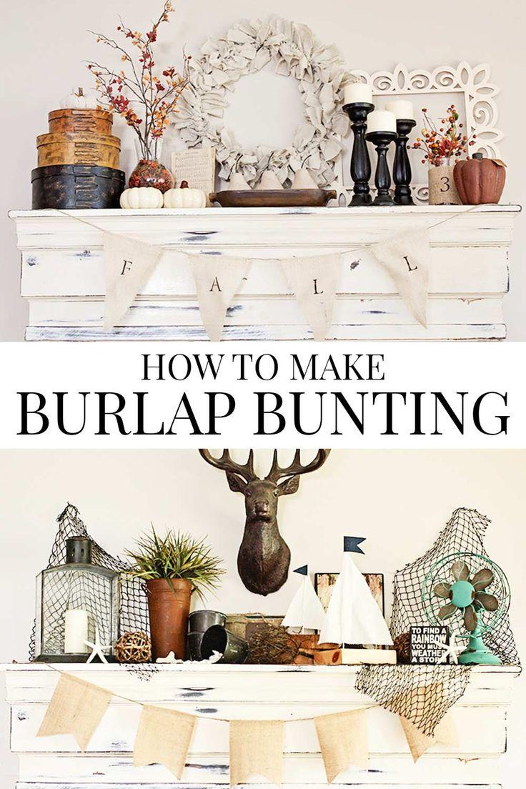 How to Make Burlap Bunting via @akadesigndotca