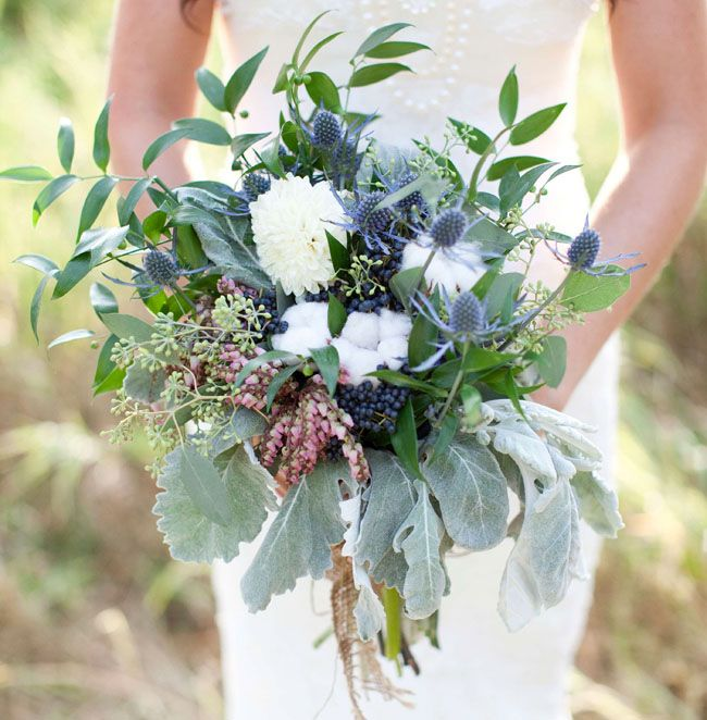 Vintage Fall Wedding Inspiration- ivory dahlias, blue eryngium, pieris japonica, cotton, dusty miller + viburnum berries.