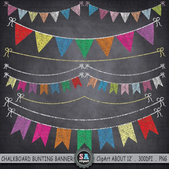 "Chalkboard Bunting Banner Clipart ""BUNTING BANNER "" Flag clipart,Party…"