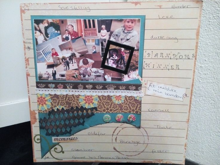 Layout from my childhood . The image is one image of many picture . Made it on sheets of lines. Written a few words around, about what is happening in the pictures. A fairly simple Layout