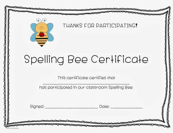 11 Best Pta Spelling Bee Images On Pinterest Bee Certificate