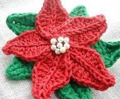 free crochet tree skirt pattern ... Poinsettia Brooch by ...
