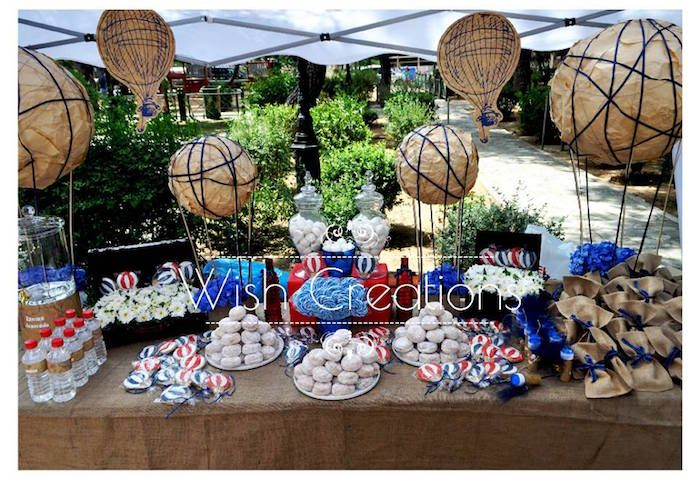 Sweet Table from a Rustic Hot Air Balloon Baptism + Christening Party via Kara's Party Ideas KarasPartyIdeas.com (9)
